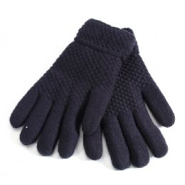 36 Units of Mens Black Fur Lined Glove - Knitted Stretch Gloves