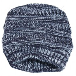36 Units of Women's Villi Lined Twist Pattern Knitted Hat Lined - Winter Beanie Hats