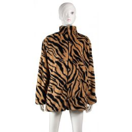 24 Units of Fleece Poncho Tiger Print - Winter Pashminas and Ponchos