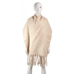 60 Units of Women's Scarf With Pearls - Winter Pashminas and Ponchos