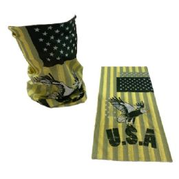 30 Units of Multi Functional Headgear Gaiter Buff USA Eagle Yellow - Baseball Caps & Snap Backs
