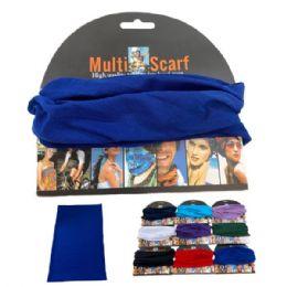 24 Units of Multi Functional Headgear Gaiter Buff Solid - Bandanas
