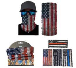 24 Units of Multi Functional Headgear Gaiter Buff Flag - Bandanas