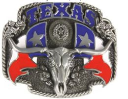 24 Units of Texas Flag Bull Belt Buckle - Belt Buckles