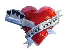 24 Units of Love Hurts Heart Belt Buckle - Belt Buckles