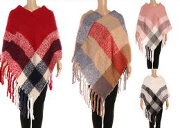 12 Units of Womens Plaid Polyester Winter Cape In Assorted Colors - Winter Pashminas and Ponchos
