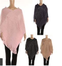 12 Units of Womens Solid Polyester Winter Cape In Assorted Colors - Winter Pashminas and Ponchos