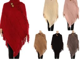 24 Units of Womens Luxurious Large Thick Solid Color Pashmina Wrap With Button - Winter Pashminas and Ponchos