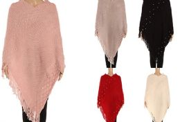 24 Units of Womens Luxurious Large Thick Solid Color Pashmina Wrap With Pearls - Winter Pashminas and Ponchos