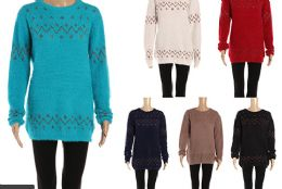24 Units of Womens Long Sleeve Chunky Knit Pullover Sweater In Assorted Color - Womens Sweaters & Cardigan