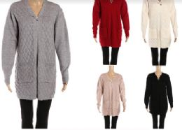 24 Units of Womens Open Front Long Sleeve Cardigan Sweater - Womens Sweaters & Cardigan