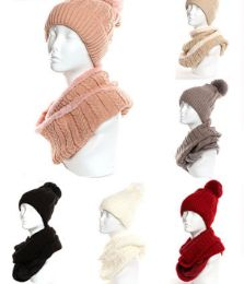 24 Units of Womens Beanie Hat And Scarf Set Cute Winter Ski Hat Slouchy - Winter Sets Scarves , Hats & Gloves