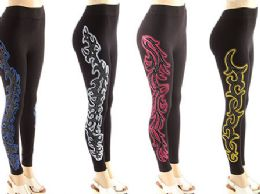 72 Units of Womens Printed Yoga Leggings - Womens Leggings