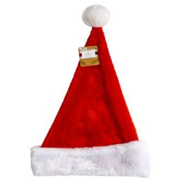 24 Units of Santa Hat Deluxe Plush Red With White Cuff 16in - Christmas Novelties