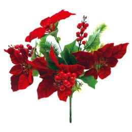 32 Units of Xmas Poinesettia With Berry Plant - Christmas Decorations