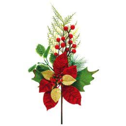 96 Units of Xmas Poinesettia Sticks - Christmas Decorations