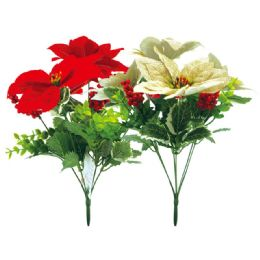 48 Units of Xmas Poinesettia Red And Gold - Christmas Decorations
