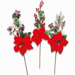 48 Units of Xmas Poinesettia Stem With Cone And Berry - Christmas Decorations