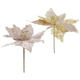 96 Units of Xmas Flower Poinsettia Rose Gold - Christmas Decorations