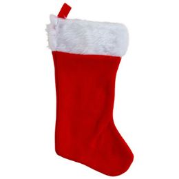 36 Units of Stocking Red 18in Felt W/plush Trim Ht/jhook - Christmas Stocking