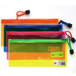 96 Units of PVC Zipper Pencil Pouch Assorted Neon Colors - Pencil Boxes & Pouches