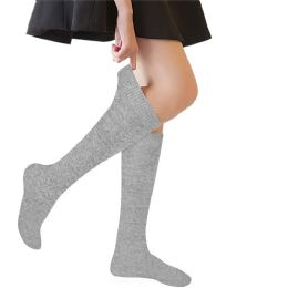 36 Units of Yacht & Smith 90% Cotton Girls Heather Gray Knee High, Sock Size 6-8 - Girls Knee Highs