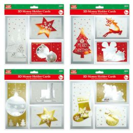 96 Units of 3 Count Money Holder Cards - Christmas Gift Bags and Boxes