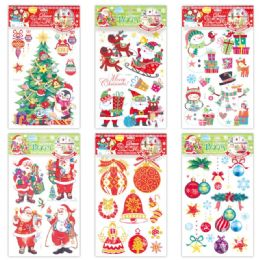 96 Units of X'mas Decoration Sticker With Glitter - Christmas Novelties