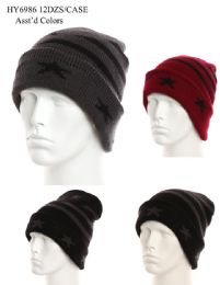 36 Units of Men Star Stripe Printed Winter Hat - Winter Beanie Hats