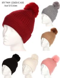 36 Units of Women's Winter Pom Pom Hat Solid Colors Assorted - Winter Beanie Hats