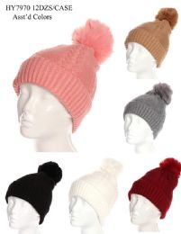 36 Units of Women's Winter Pom Pom Hat Textured Design - Winter Beanie Hats