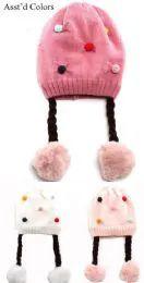 36 Units of Girls Winter Hat With Pom Pom Design - Winter Beanie Hats