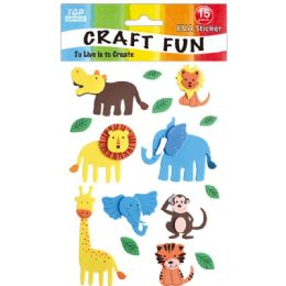 96 Units of Eva Animal Sticker - Craft Glue & Glitter