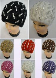 12 Units of Ladies Knitted Hat ZigZag Rhinestones - Winter Beanie Hats