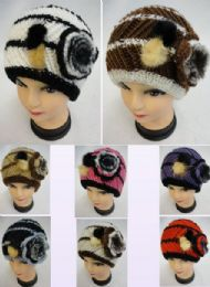 12 Units of Ladies Knitted Hat Fur & Flower - Winter Beanie Hats