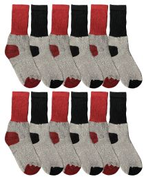 12 Units of Yacht & Smith Kids Thermal Winter Socks, Cotton, Boys Girls Winter Crew Socks - Boys Crew Sock