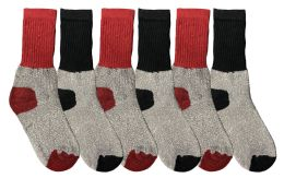 6 Units of Yacht & Smith Kids Thermal Winter Socks, Cotton, Boys Girls Winter Crew Socks - Boys Crew Sock