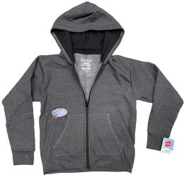 24 Units of BILLIONHATS Wholesale 24 Pack Kids Hoodie Sweatshirts Bulk, Zipper, EcoSmart Yarn, Hoodie Pocket, Charcoal Gray (Small) - Boys Apparel