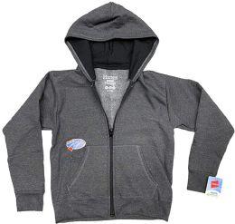 24 Units of BILLIONHATS Wholesale 24 Pack Kids Hoodie Sweatshirts Bulk, Zipper, EcoSmart Yarn, Hoodie Pocket, Charcoal Gray (Large) - Boys Apparel