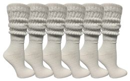 6 Units of Yacht & Smith Womens Cotton Extra Heavy Slouch Socks, Boot Sock Solid White - Womens Crew Sock