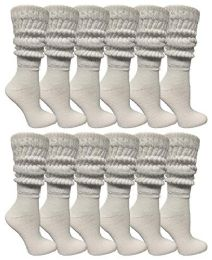 12 Units of Yacht & Smith Womens Cotton Extra Heavy Slouch Socks, Boot Sock Solid White - Womens Crew Sock