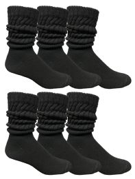 6 Units of Yacht & Smith Mens Cotton Extra Heavy Slouch Socks, Boot Sock Solid Black - Mens Crew Socks