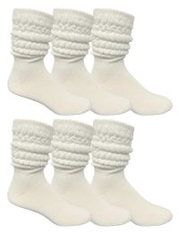 6 Units of Yacht & Smith Mens Cotton Extra Heavy Slouch Socks, Boot Sock Solid White - Mens Crew Socks