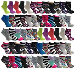 480 Units of Yacht & Smith Womens Low Cut, No Show Ankle Footie Casual Sock Fun Socks Assorted Printed Ankle Socks Size 9-11 - Womens Ankle Sock
