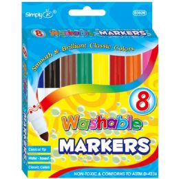 96 Units of 8 Color Jumbo Washable Marker - Markers