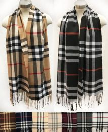 24 Units of Wholesale Classic Plaid Scarves Assorted colored - Winter Scarves