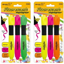 96 Units of Three Count Fluorescent Highlighters - Markers and Highlighters
