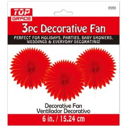 96 Units of Three Count Decoration Fan In Red - Hanging Decorations & Cut Out
