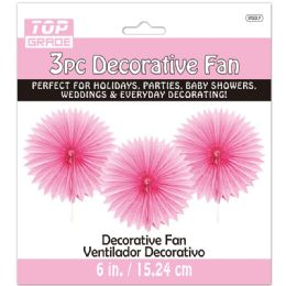 96 Units of Three Count Decoration Fan In Baby Pink - Hanging Decorations & Cut Out
