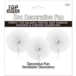 96 Units of Three Count Decoration Fan In White - Hanging Decorations & Cut Out